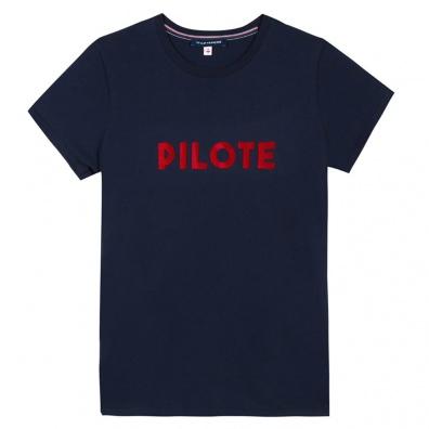 GESCHENKIDEEN - La Jeanne F Pilote Marineblau - Marineblaues T-shirt mit Siebdruck