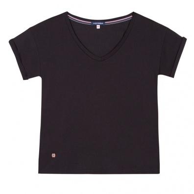 Pyjamas Femme - La Martha noir - T-shirt noir à col V