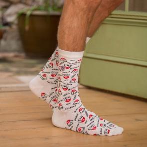69d6a38a25fda Chaussettes fantaisie Homme - Les Lucas Kilomètres - Chaussettes blanc  imprimé