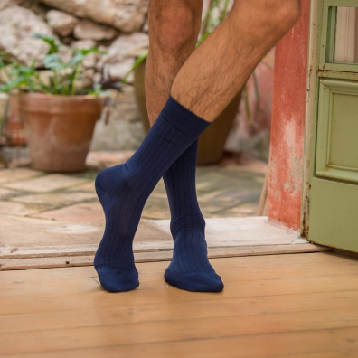 SOCKS - Les Nessy Indigo - Indigo scottish thread socks
