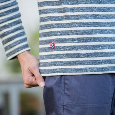 T-Shirts Homme - Le Malo Bleu - Marinière bleu chiné