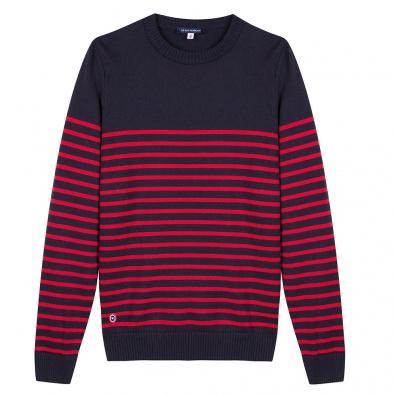 Pulls Homme - Le Olivier - Pull marinière marine et rouge