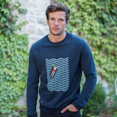 Sweats Homme - Le Barthe Baigneur - Sweat-shirt marine imprimé