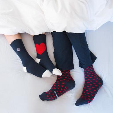 Unterwäsche für Ihn - LES LUCAS DUO Herz - 2er Pack Socken mit unterschiedlichem Motiv