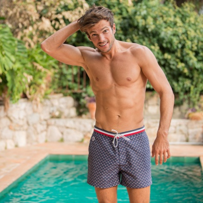 SWIM WEAR - Le capitaine PROVENSLIP - Navy blue swim short with pattern