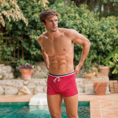 SWIMWEAR MEN - Le triton red with pattern - Red swim trunks with pattern