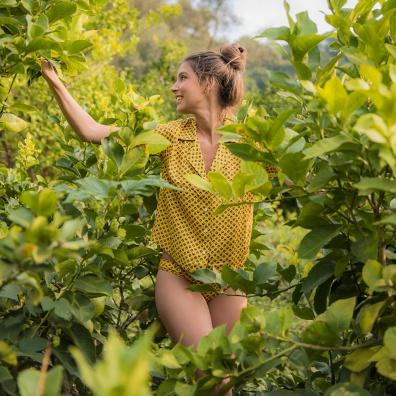 Pyjama shirts - La Elise Saffron - Saffron yellow shirt