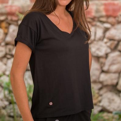 HOME SLIP HOME - La Martha noir - T-shirt noir à col V