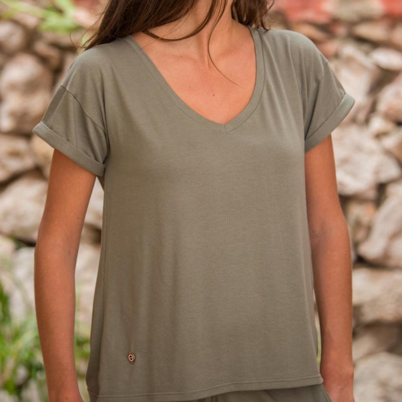 V S Martha La cuello en Khaki camiseta con CrxWdBoe
