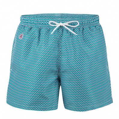 SWIM WEAR - Le Haddock Cubes - Emerald green swim shorts with pattern