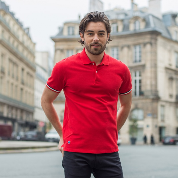 Red polo shirt