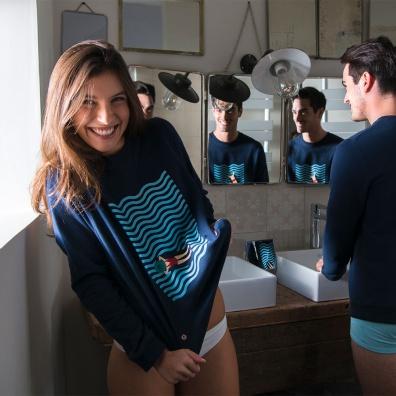 SWEAT-SHIRTS - La Sonia Navyblue - Navyblue sweatshirt with print