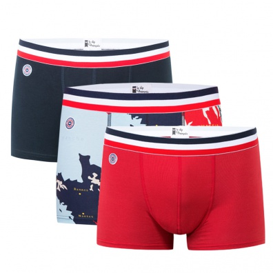 PACKS AND GIFTBOXES - Le Marius Trio - Boxer briefs Navyblue/ France pattern/ Red
