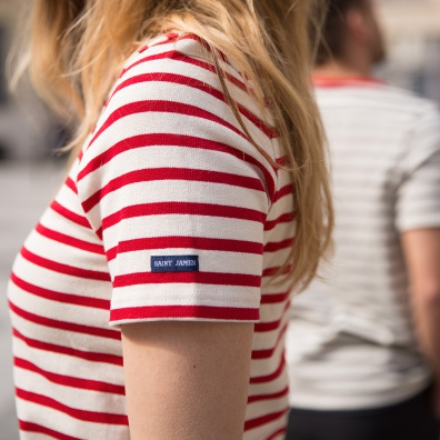 For Him - LA MAËLLE - Red-white striped t-shirt LSF x Saint James