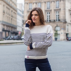 PULLS FEMME - Le Marinière - pull mixte en laine fond blanc