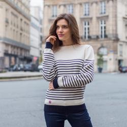 Le Marinière weiß - Gestreifter Wollpulli