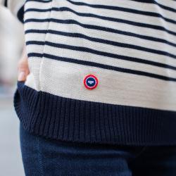Le Marinière - pull mixte en laine fond blanc