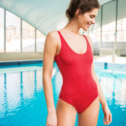 La pamela red with pattern - Red swimsuit with pattern