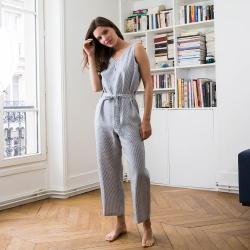 Vêtements Femme - La Romy Rayée - Combinaison rayée bleu et crème