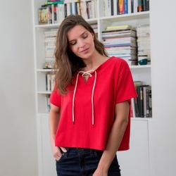 Vêtements Femme - La Eléonore Rouge - T-shirt à liens
