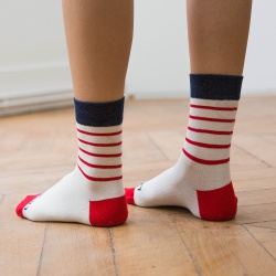 GIFT IDEAS - Les Lucie striped - Socks with red stripes