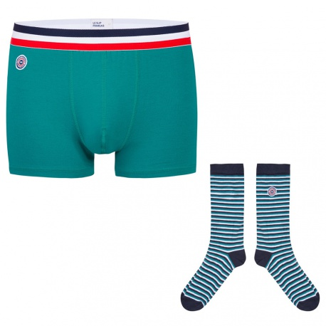 Box with emerald green boxer brief and socks