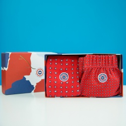 BOXER SHORTS - Le Fredo + les Lucas red with pattern - Giftbox with boxershort and socks