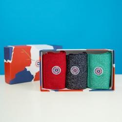 Packs Chaussettes - Les lucie trio - coffret Chaussettes emeraude marine rouge