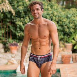 SWIM WEAR - L'Amiral PROVENSLIP - Blue swimbrief with pattern