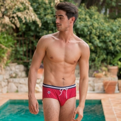SWIMWEAR MEN - L'Amiral Red with pattern - Red swim brief with pattern
