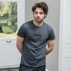 Le Jean DOUBLE JEU- Anthracite t-shirt with velvet printing