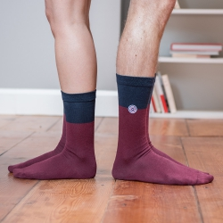 SOCKS - Les lucas Plum Navyblue - Two-coloured socks
