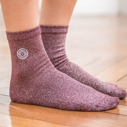 SOCKS - Les lucie Plum - Plum socks with lurex