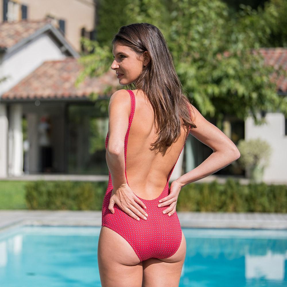 La Pamela Rot gemustert - Roter Badeanzug mit Muster