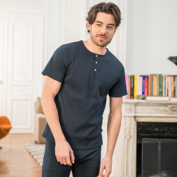 Pyjama shirts - Le gilbert Ribbed Navyblue - Navyblue ribbed t-shirt