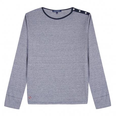 T-shirt micro rayures marine