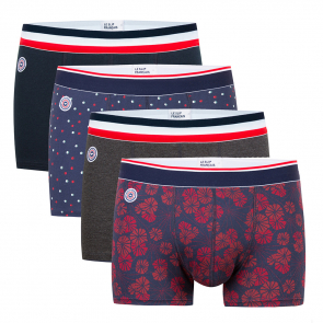 Le Marius Quatro   Boxer Briefs In Navyblue, Dotted, Anthracite, Flower  Pattern