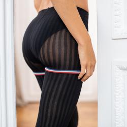 POUR ELLE - Les Violette rayées noires - Collants femme