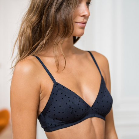 Classic navyblue dotted bra