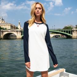 La rachel Marineblau Beige - Nachthemd LSF x Saint James