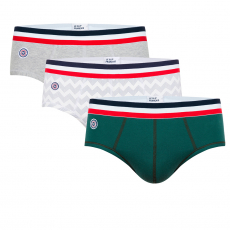 Le terrible trio - Briefs in fir green, with pattern and in light grey