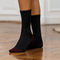 Les octave anthracite/plum - Silk socks