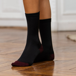 SOCKS - Les octave anthracite/plum - Silk socks