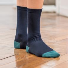Les octave navyblue/green - Silk socks