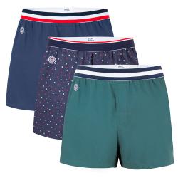 BOXERSHORTS - Le roland Trio - Boxershorts in marineblau, tannengrün und gepunktet