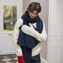 Accessoires Femme - La Faustine marine bleu blanc rouge - écharpe moufle