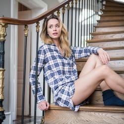 Vêtements Femme - La Clémentine tartan prune - Haut pyjama femme