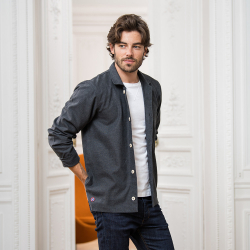 HOME SLIP HOME - Le bill ANTHRACITE - Grey cotton flannel shirt