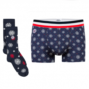 Giftbox Marius and Lucas snowflake - Boxer brief and socks with pattern