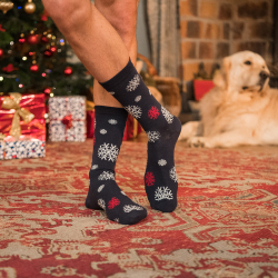 Les lucas Schneeflocken - Marineblaue Socken mit Muster